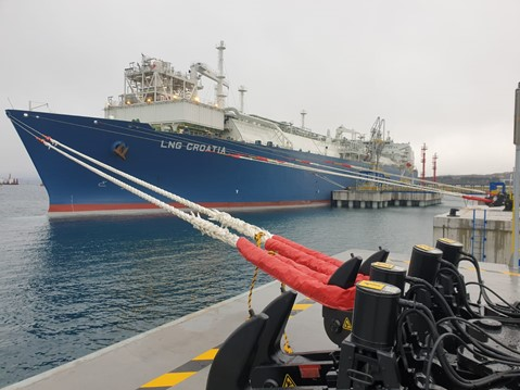 Croatia's first FSRU, LNG Croatia, moored at the facility on Krk Island