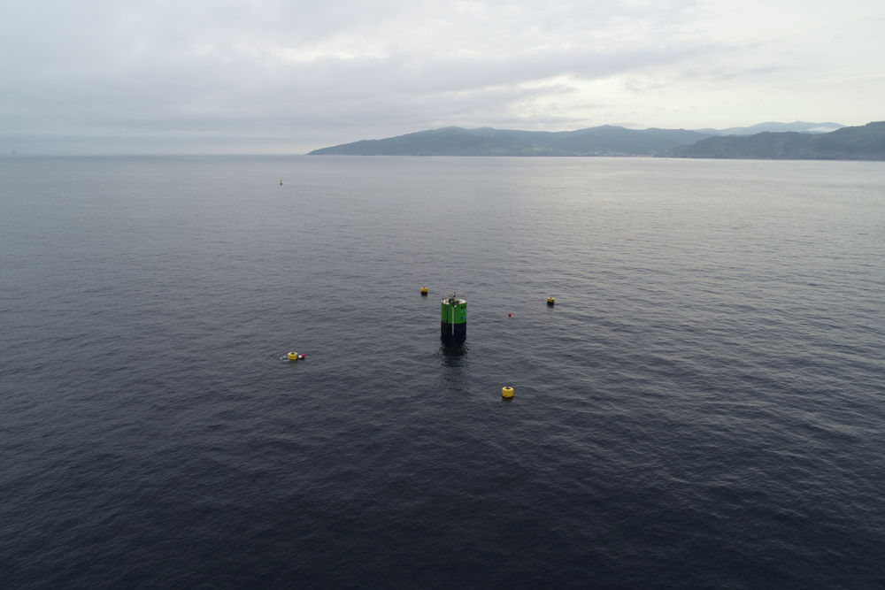A photo of Marmok-A5 wave energy device deployed off Basque Country (Courtesy of Ente Vasco de la Energia)