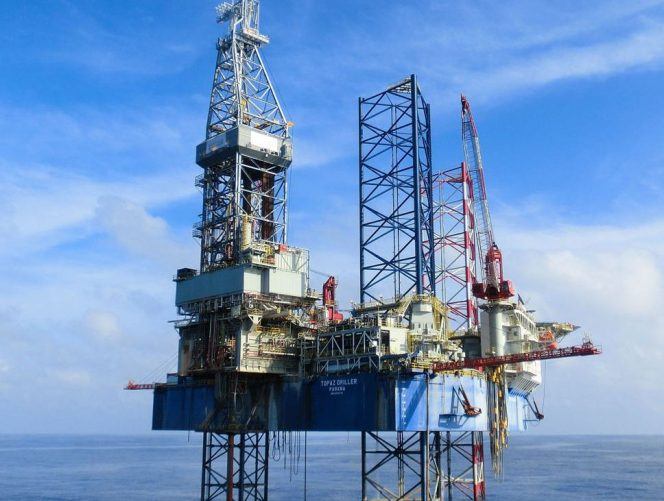 A photo of Topaz Driller jack-up rig used by Vaalco for the 2019/2020 drilling campaign (Courtesy of Vantage Drilling)