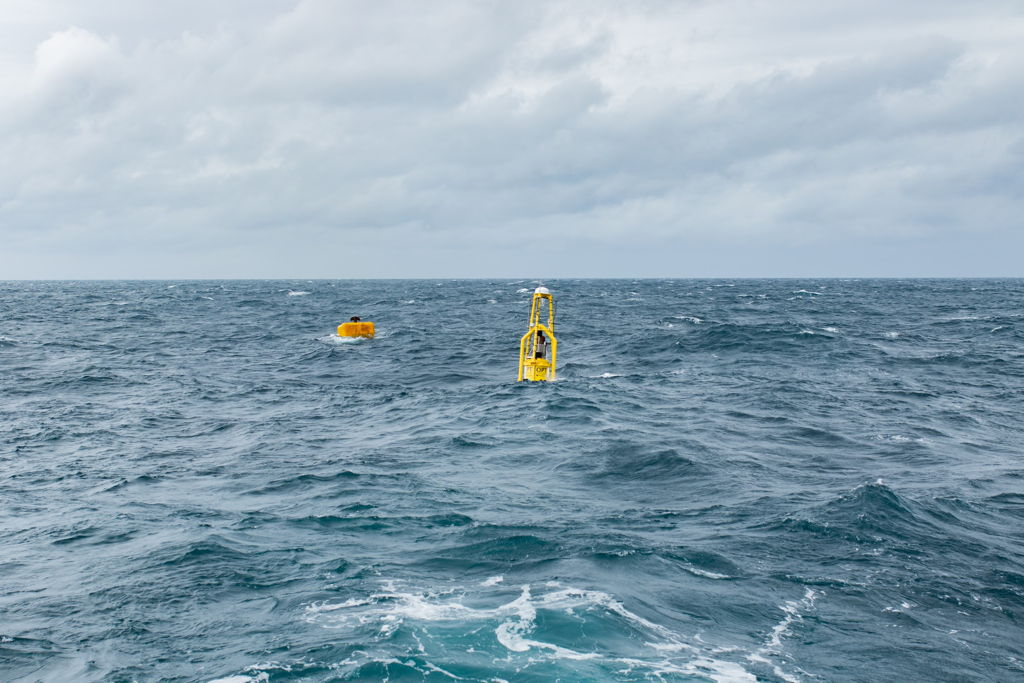 A photo of PB3 PowerBuoy operating in the North Sea for Premier Oil (Courtesy of OPT)