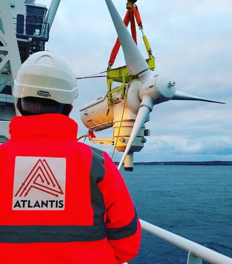 A photo of Andritz Hydro Hammerfest turbine being installed at MeyGen (Courtesy of Simec Atlantis Energy)