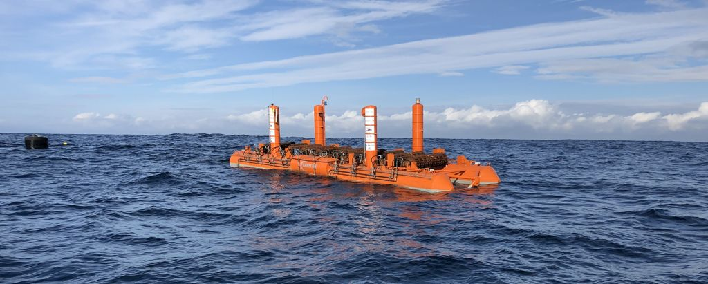 A photo of Arrecife Energy Systems' wave energy device under tests as part of Blue-GIFT project (Courtesy of Blue-GIFT)