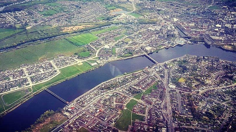 An aerial view of the River Shannon, Limerick, Ireland (Courtesy of GKinetic Energy/Limerick.ie)