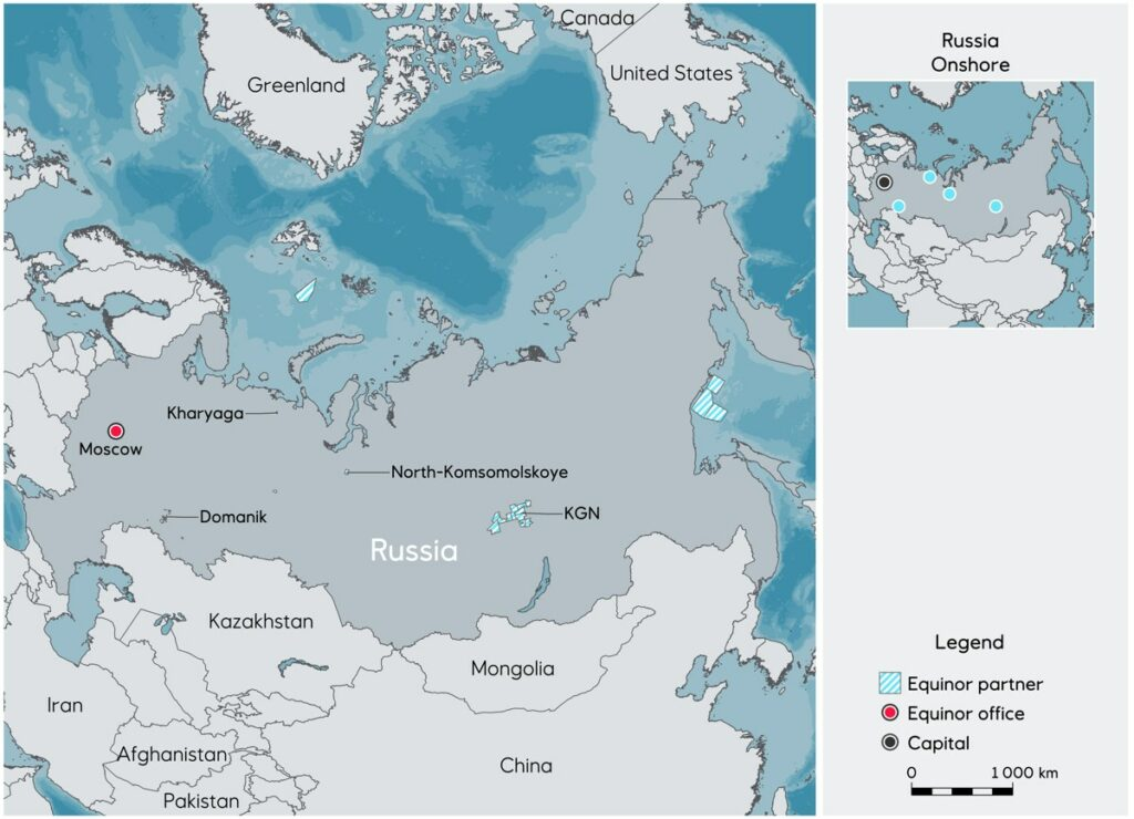 Map of Equinor's licences in Russia