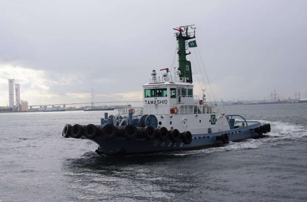 The MOL Group's tugboat 13 Tamashio undergoes sea trials using euglena biodiesel fuel; Image by MOL