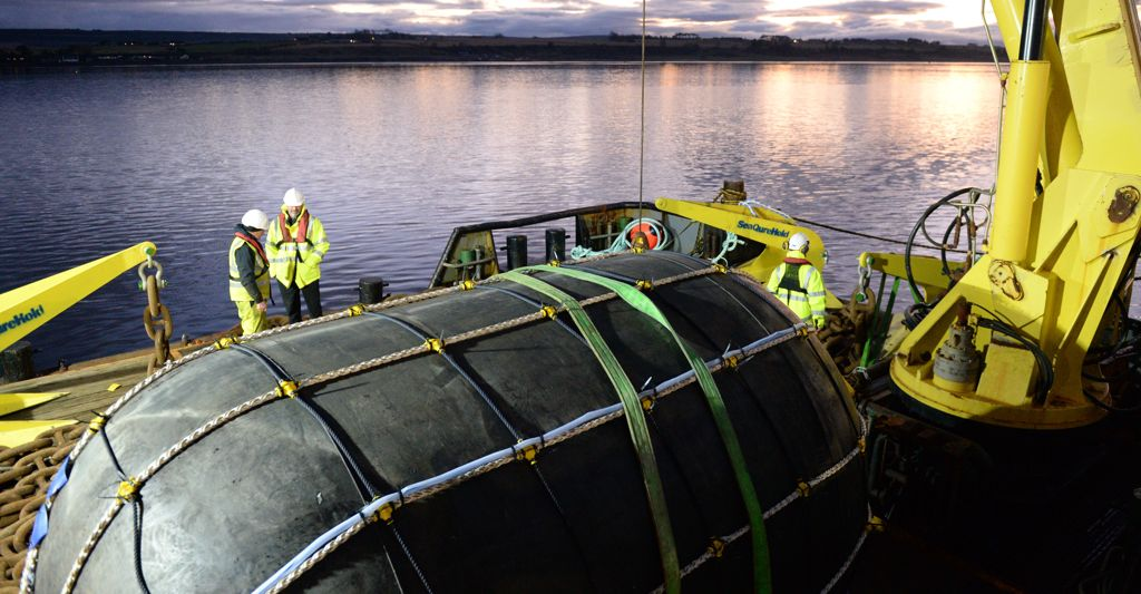 A photo of NetBuoy ahead of deployment (Courtesy of Tom Mackay/Wave Energy Scotland)