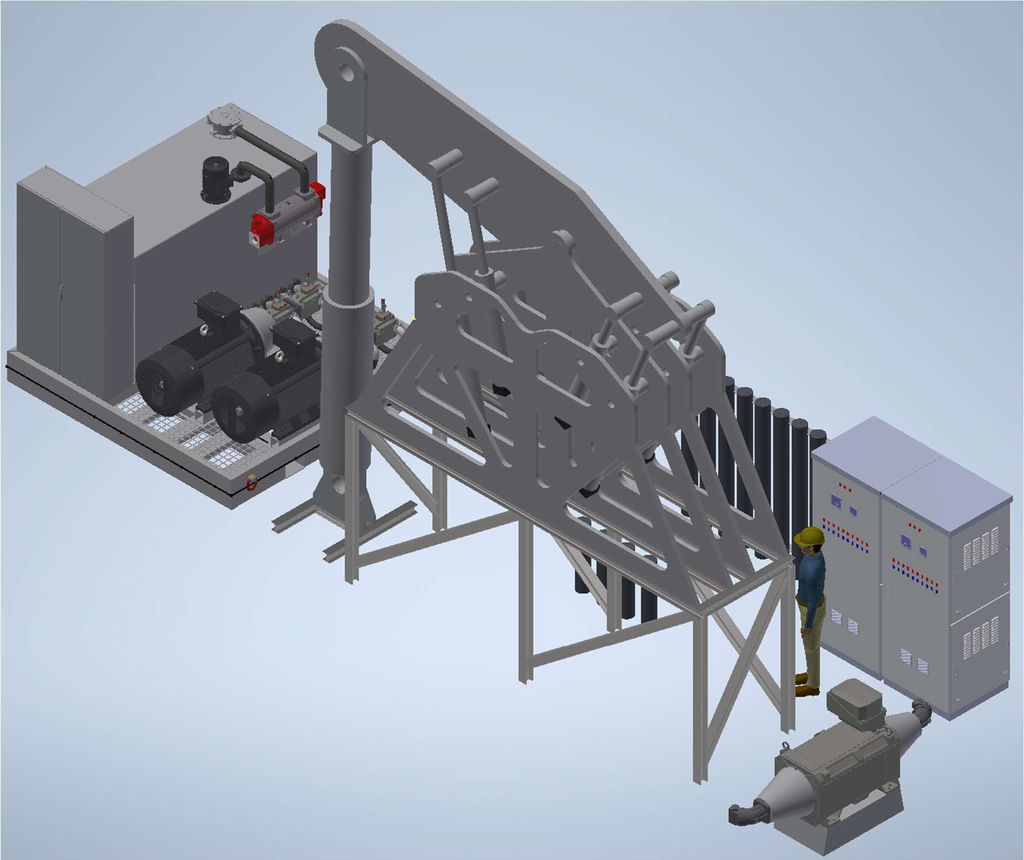 The test rig uses a large hydraulic cylinder to simulate the motion from incoming waves (Courtesy of FPP)