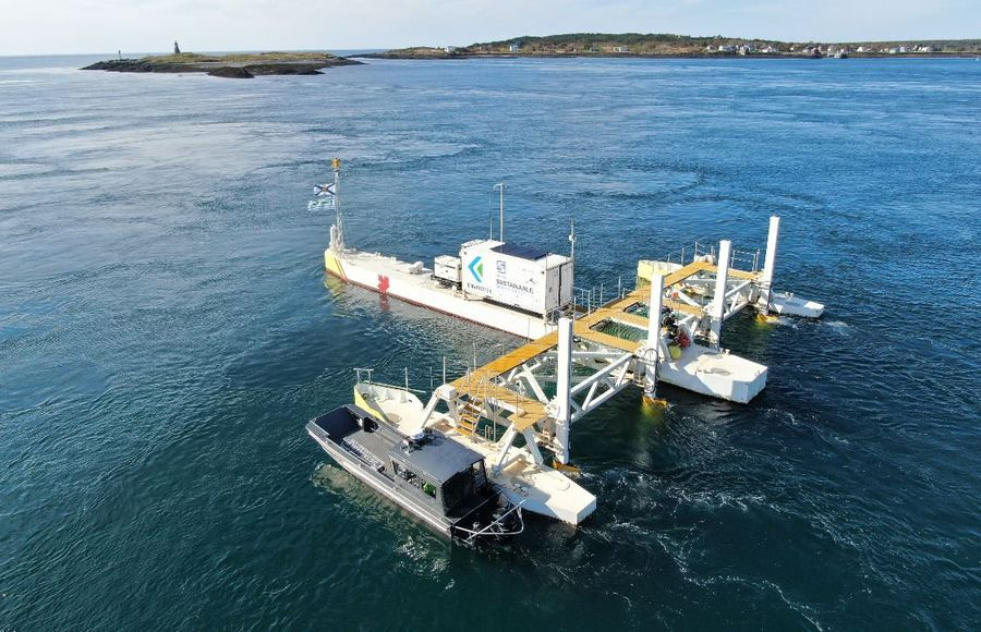 A photo of Sustainable Marine's PLAT-I tidal device (Courtesy of Sustainable Marine Energy)
