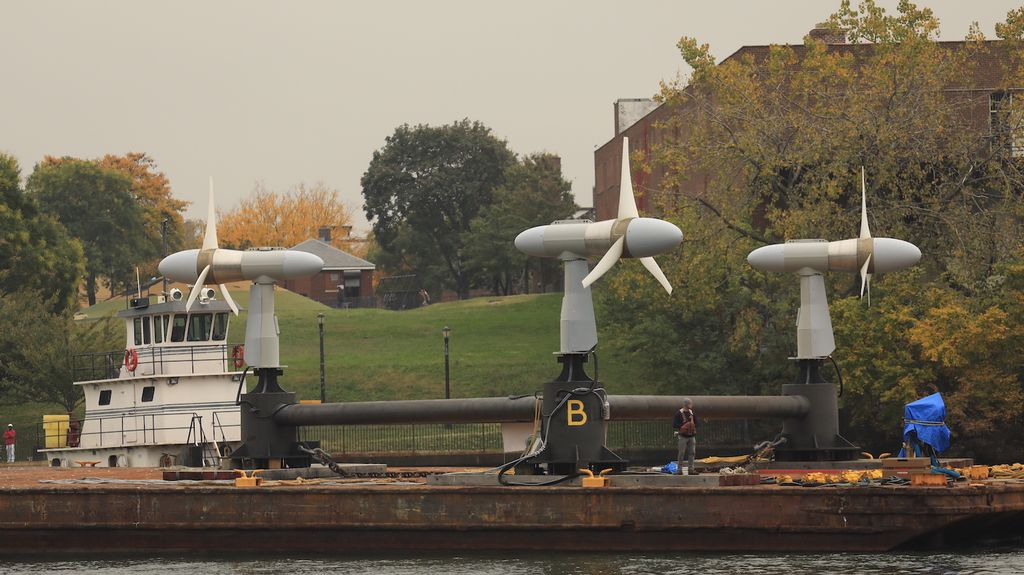 The three turbines before installation into the East River (Courtesy of Verdant Power)