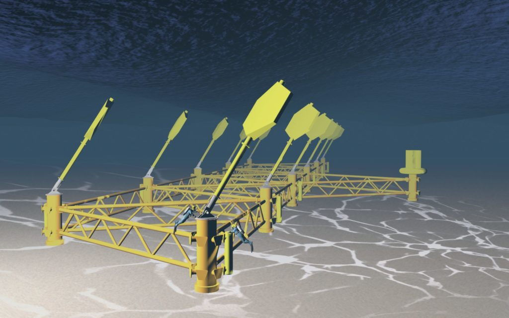 An image showing a concept for Exowave large-scale wave energy device (Courtesy of Exowave)