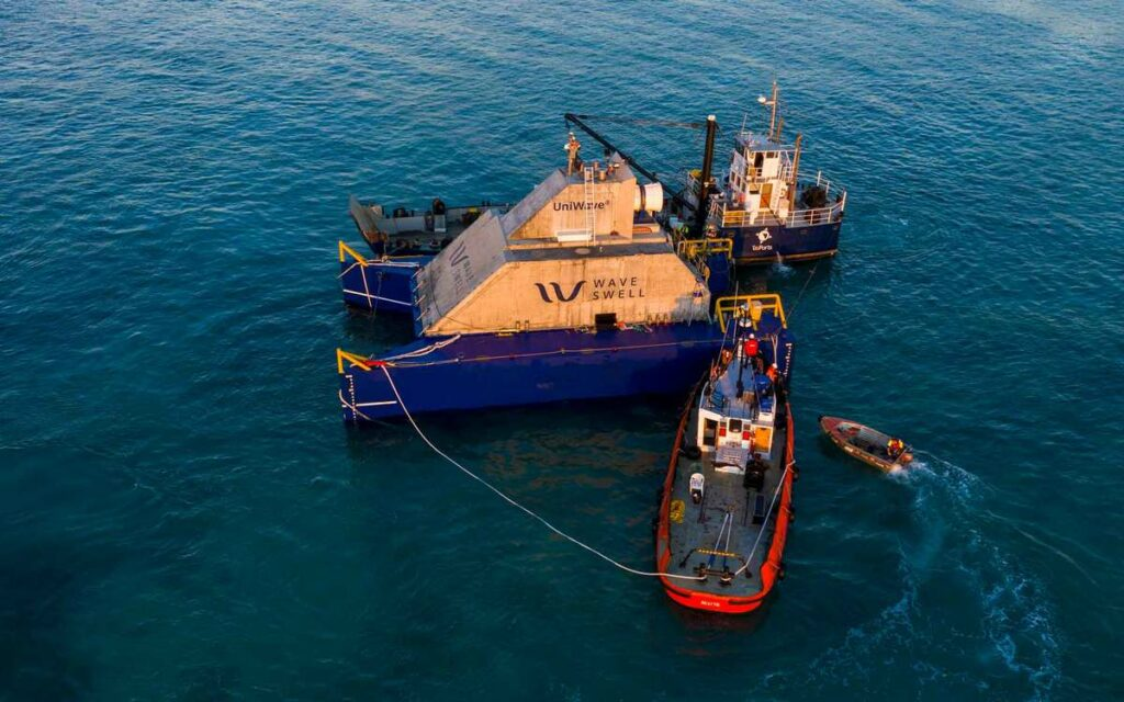Photo of UniWave200 during deployment operation (Courtesy of Wave Swell Energy)