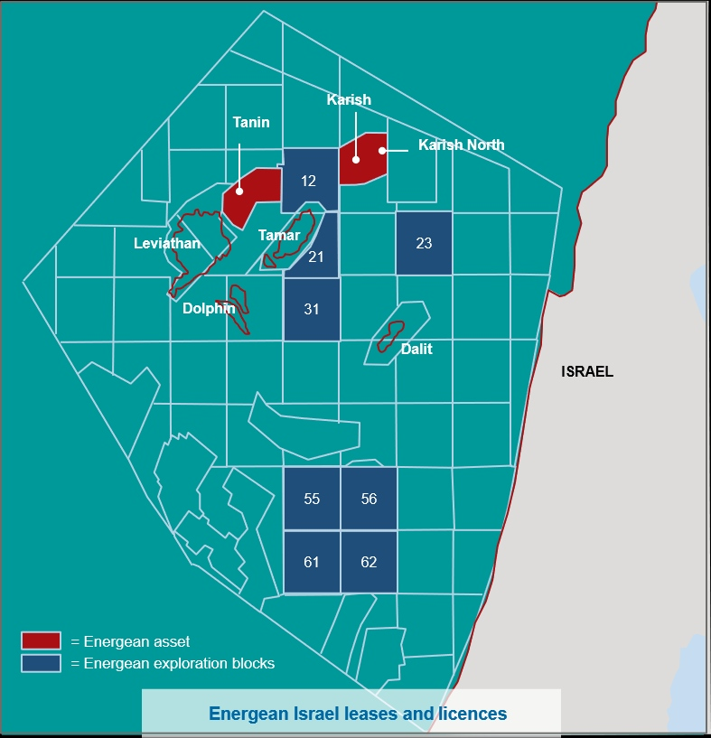Energean's Israel leases and licences map