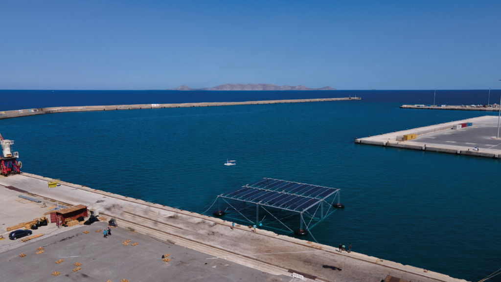 A photo of SINN Power's OHP equipped with 75kWp PV at the port of Heraklion (Courtesy of SINN Power)