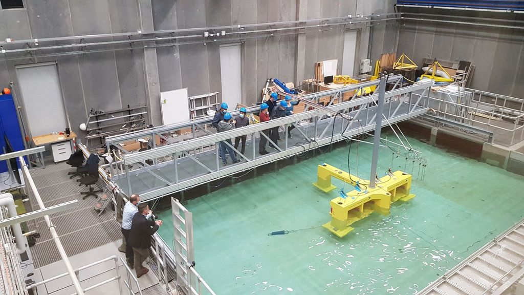 A photo of FPP's hybrid floating wind and wave platform under tests at IHCatabria (Courtesy of Floating Power Plant)