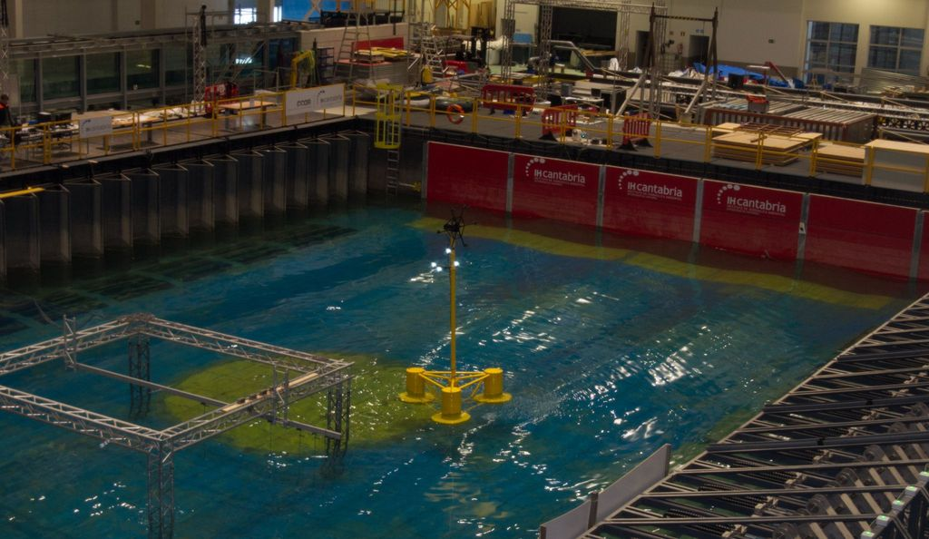 A photo of FPP's hybrid floating wind and wave platform under tests at IHCantabria (Courtesy of IHCantabria)