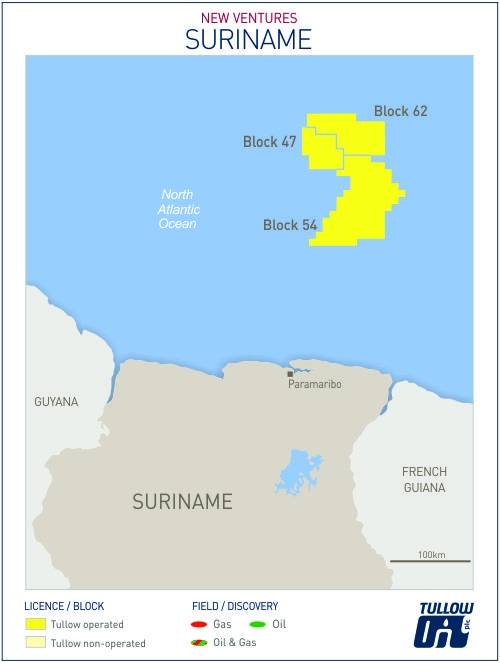 Suriname map - Tullow Oil
