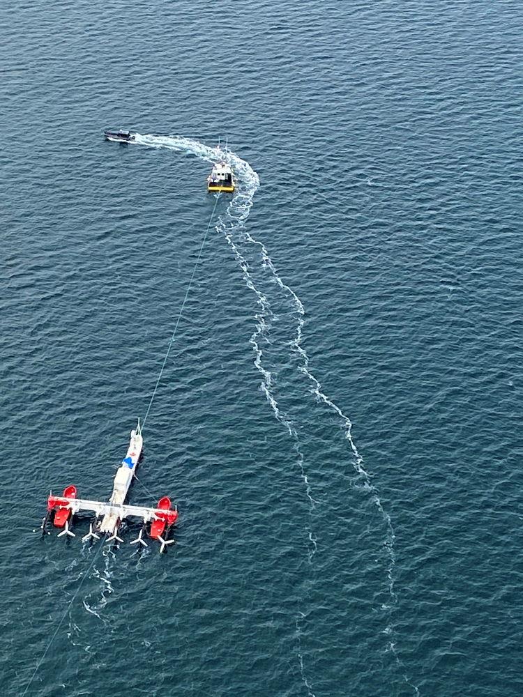 Photo of PLAT-I 6.40 in the Bay of Fundy (Courtesy of Sustainable Marine Energy)