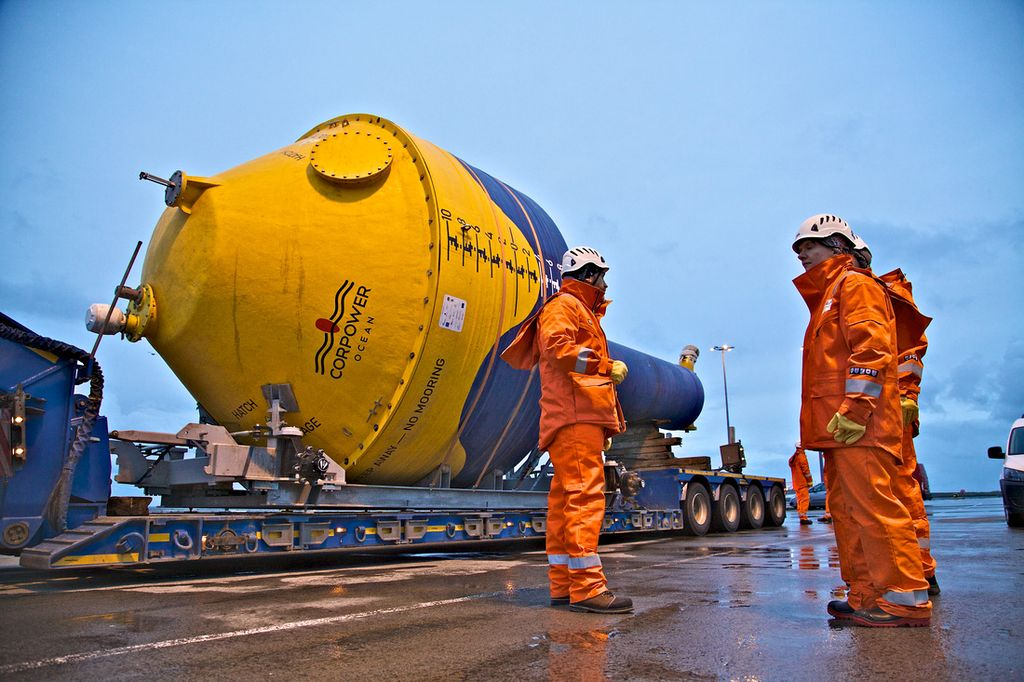 Photo of the delivery of CorPower's C3 device to Orkney (Courtesy of Colin Keldie/CorPower Ocean)