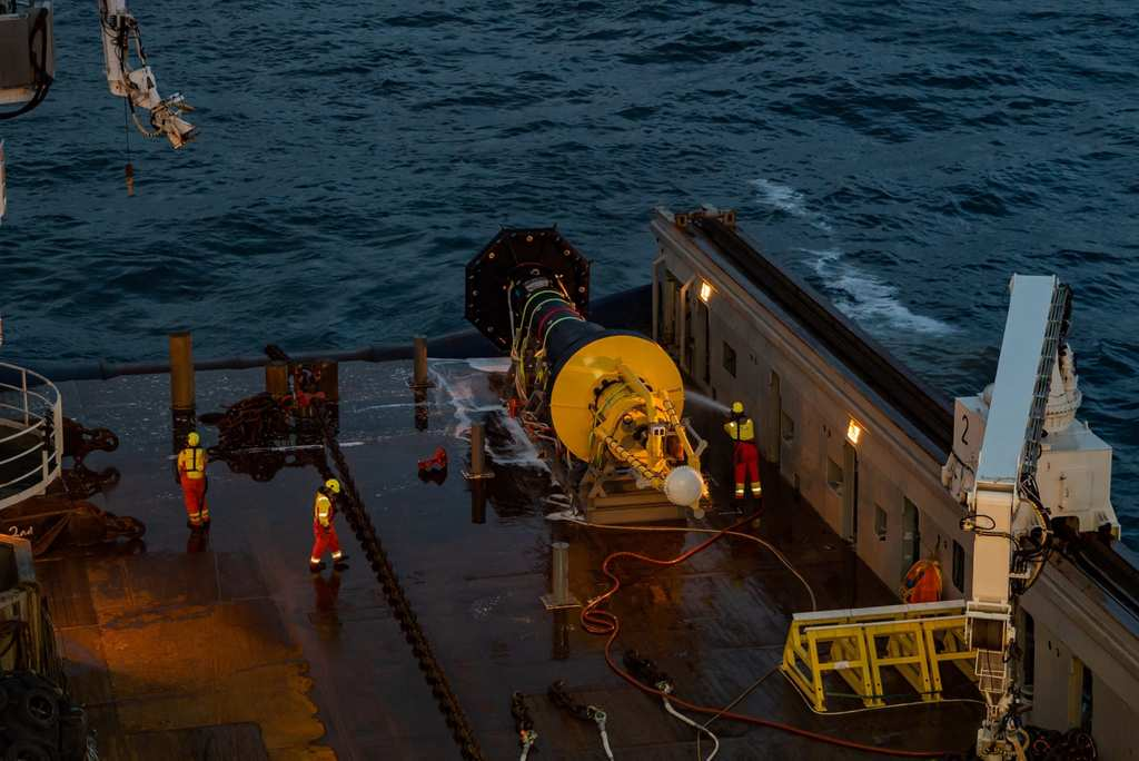 Photo of OPT's PB3 getting ready for North Sea deployment (Courtesy of Ocean Power Technologies)