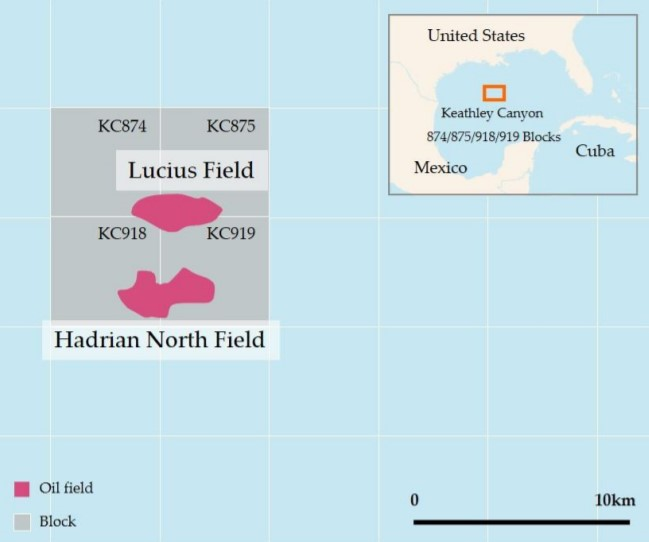 Location Map of Lucius and Hadrian North fields in Gulf of Mexico - Inpex