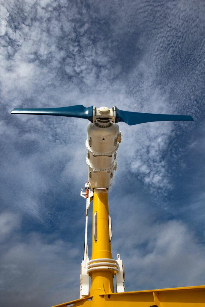 Photo of Nova Innovation's Eunice turbine, the fourth turbine in the Shetland Tidal Array (Courtesy of Nova Innovation)