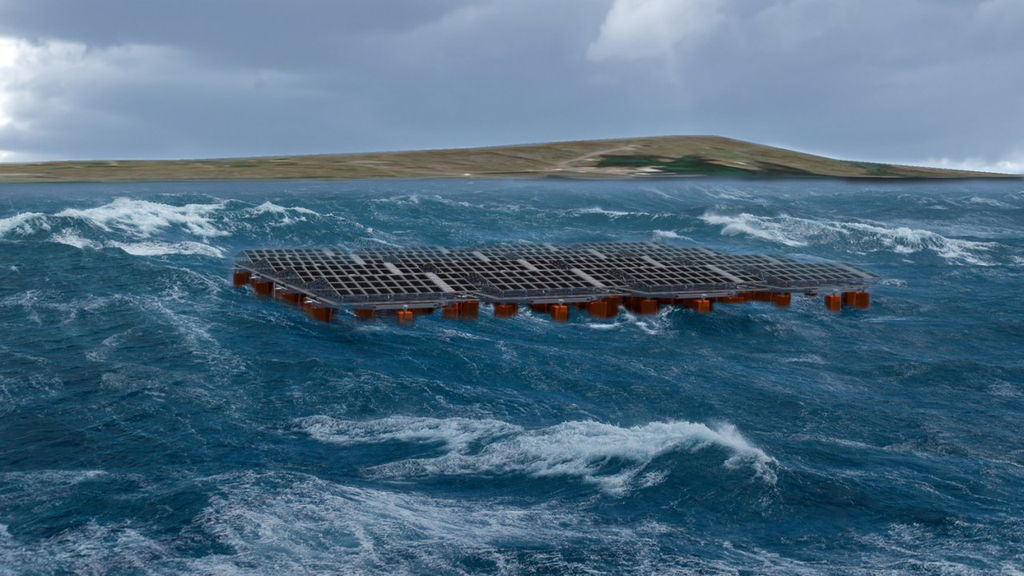 The potential look of the floating solar pilot plant (Courtesy of Moss Maritime)