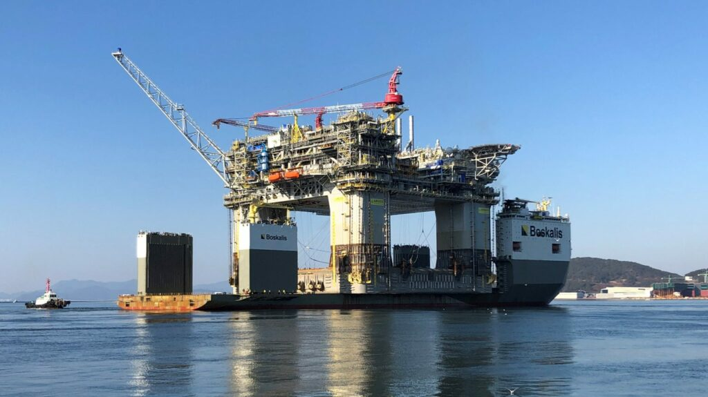 BP's Argos FPU sailed away from South Korea on the BOKA Vanguard and began the journey to the Kiewit Offshore Services fabrication yard in Ingleside, Texas