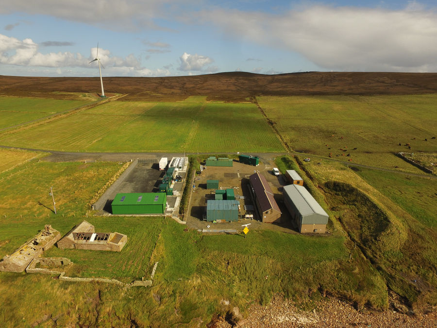 Photo of EMEC's onshore substation and hydrogen plant (Courtesy of EMEC; Photo by Orkney Sky Cam)