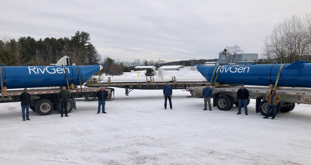 Photo of ORPC's RivGen sub-components (pontoons and chassis) prepare to depart Downeast Machine & Engineering in Maine (Courtesy of ORPC)