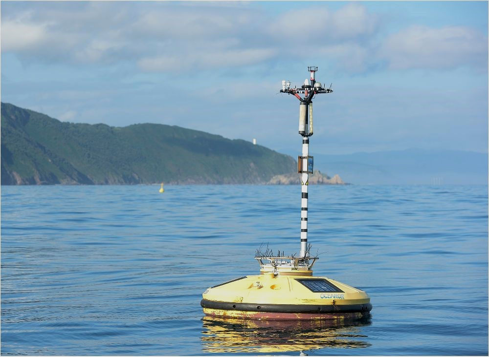Photo of WaveScan Metocean Buoy at BiMEP (Courtesy of BiMEP)