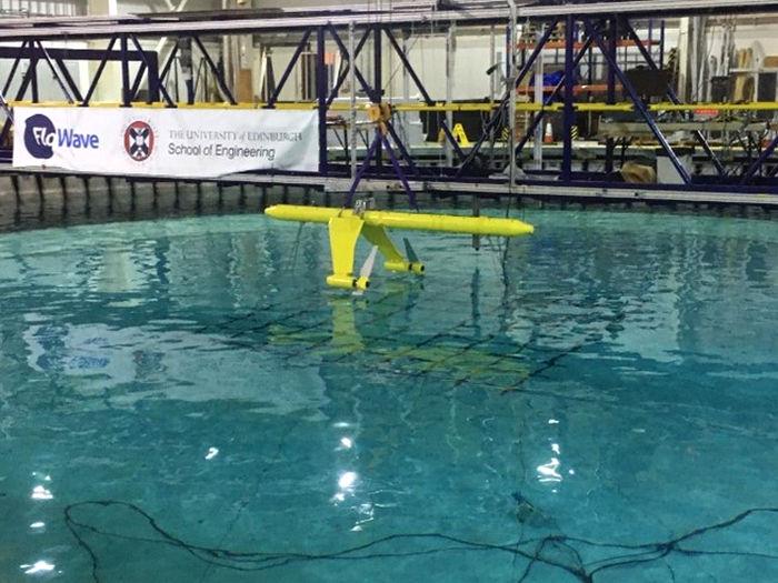 Photo of scale model testing at FloWAVE (Courtesy of Orbital Marine Power)