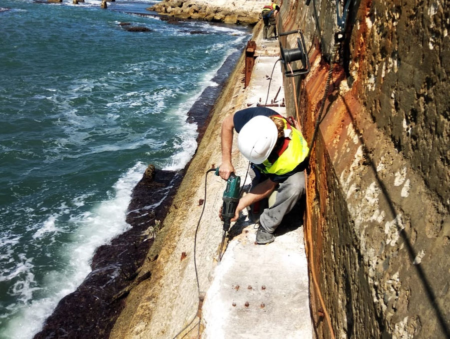 Photo showing the start of works on the seawall in the Port of Jaffa (Courtesy of Eco Wave Power)