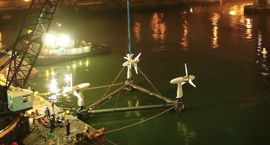 Photo of Verdant Power installing tidal turbines as part of RITE Project (Courtesy of Verdant Power)