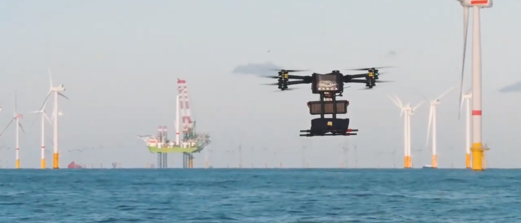 A Sabca drone at the Rentel offshore wind farm