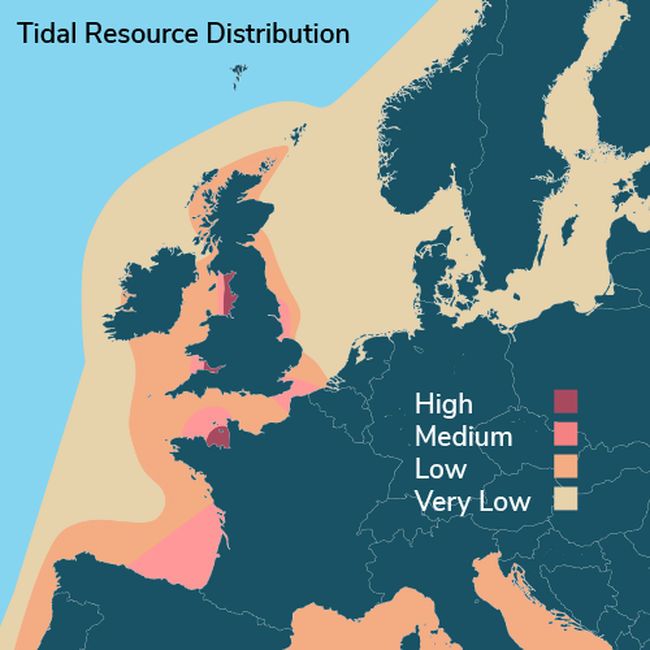 Illustration/Tidal resource distribution in Wales and Ireland (Courtesy of SELKIE Project)