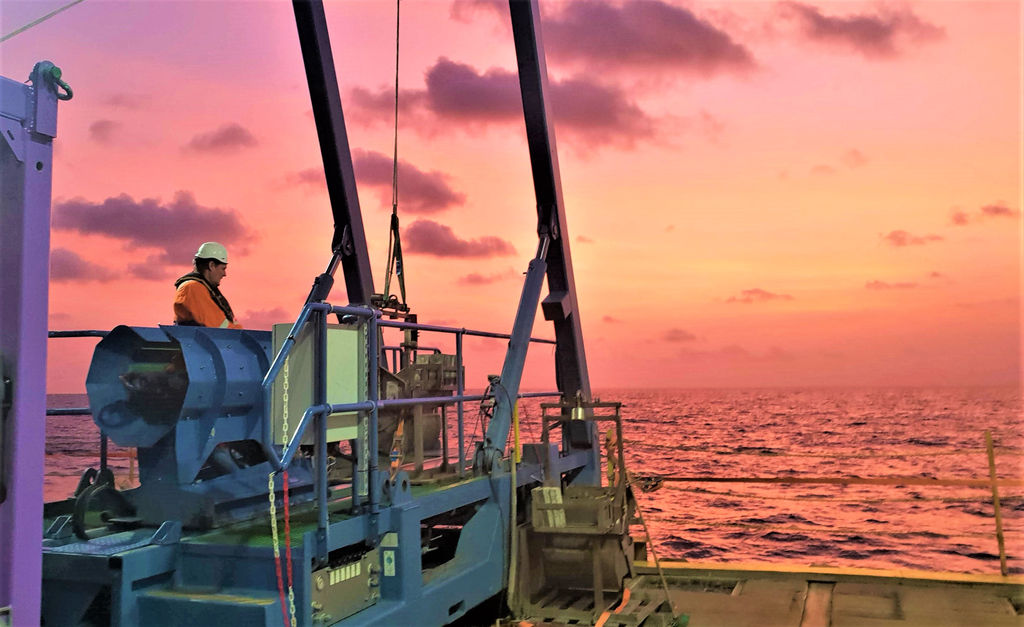 Photo of Feritech core sampling equipment in action off the coast of Africa (Courtesy of Feritech Global)