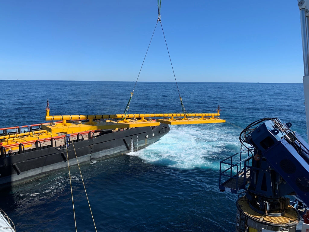 Photo showing structures being installed during the Mad Dog construction campaign (Courtesy of Subsea 7)