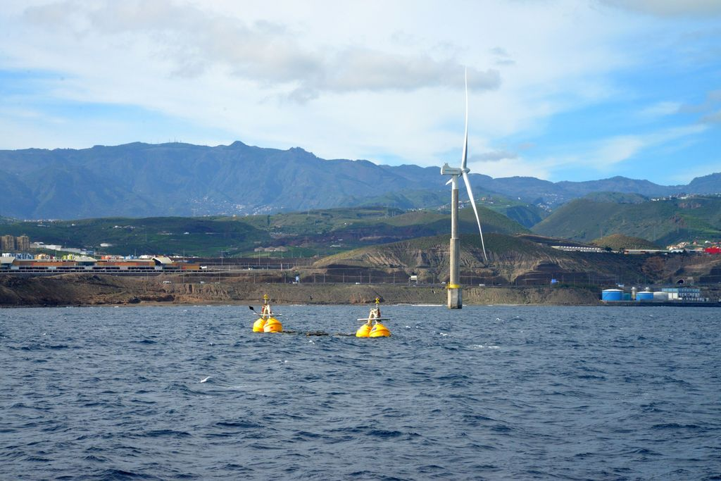 Photo of Wavepiston test string installed off Gran Canaria (Courtesy of Michael Henriksen/Wavepiston)