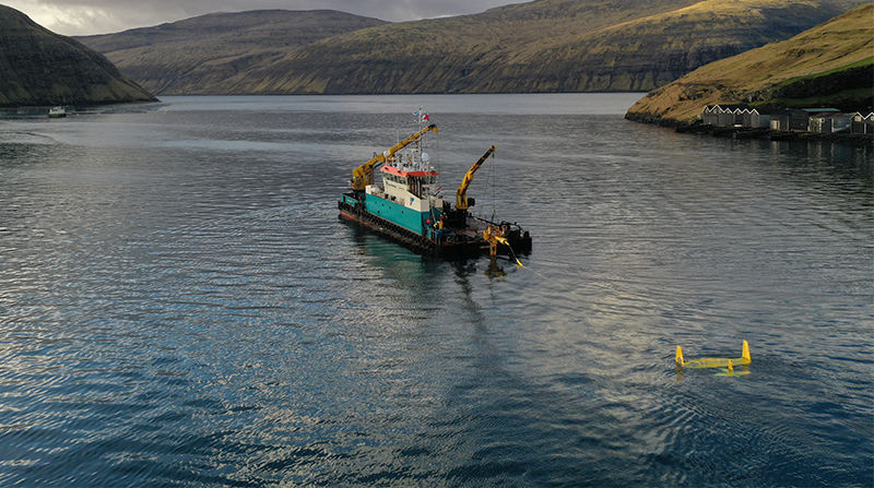 Photo of Minesto's DG100 power plant in Faroe Islands (Courtesy of Minesto)