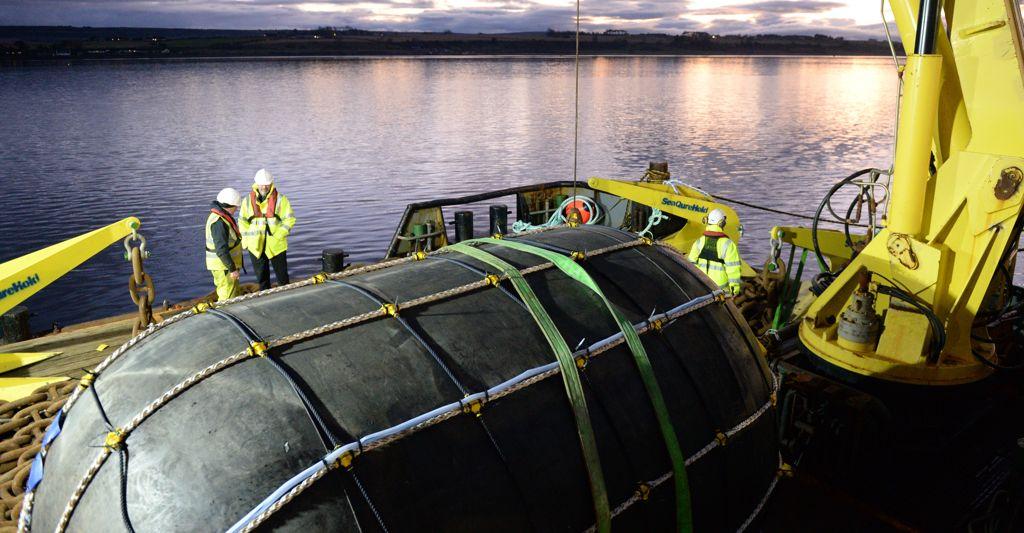 Illustration/TTI's NetBuoy ahead of deployment (Courtesy of Tom Mackay/Wave Energy Scotland)