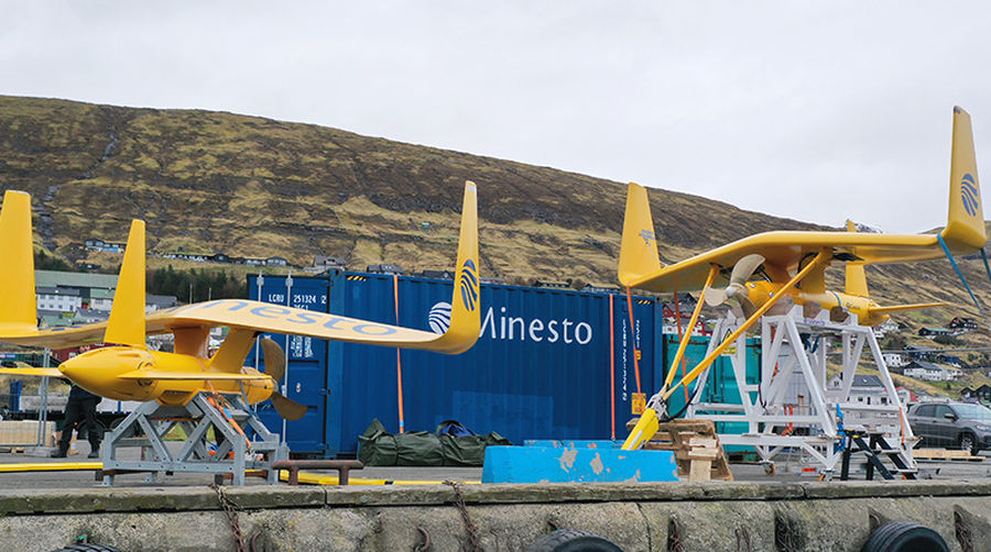 Photo of Minesto's two DG100 marine energy converters on the quayside in Faroe Islands (Courtesy of Minesto)