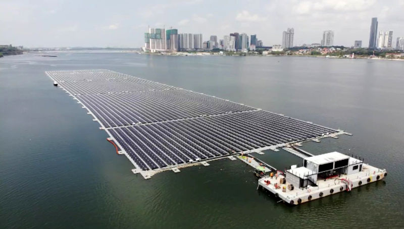 Photo of Sunseap's offshore floating solar farm at Woodlands (Courtesy of Sunseap)