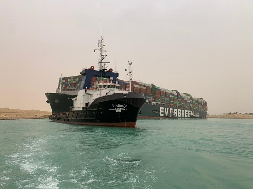 Ever Given aground in the Suez Canal