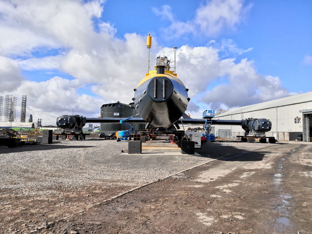 Photo of Orbital's 2MW O2 tidal turbine in Dundee (Courtesy of Osprey Group)