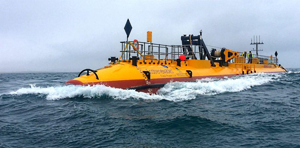 Photo of SR2000 tidal turbine in operation at EMEC tidal test site (Courtesy of Orbital Marine Power)