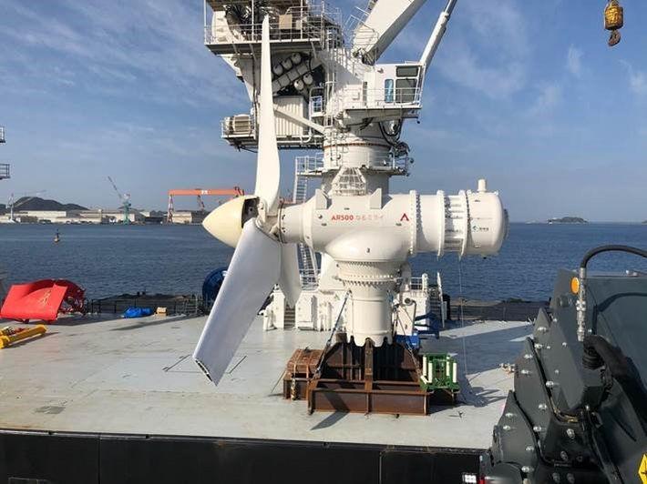 Photo of Simec Atlantis' AR500 tidal turbine (Courtesy of Acteon)