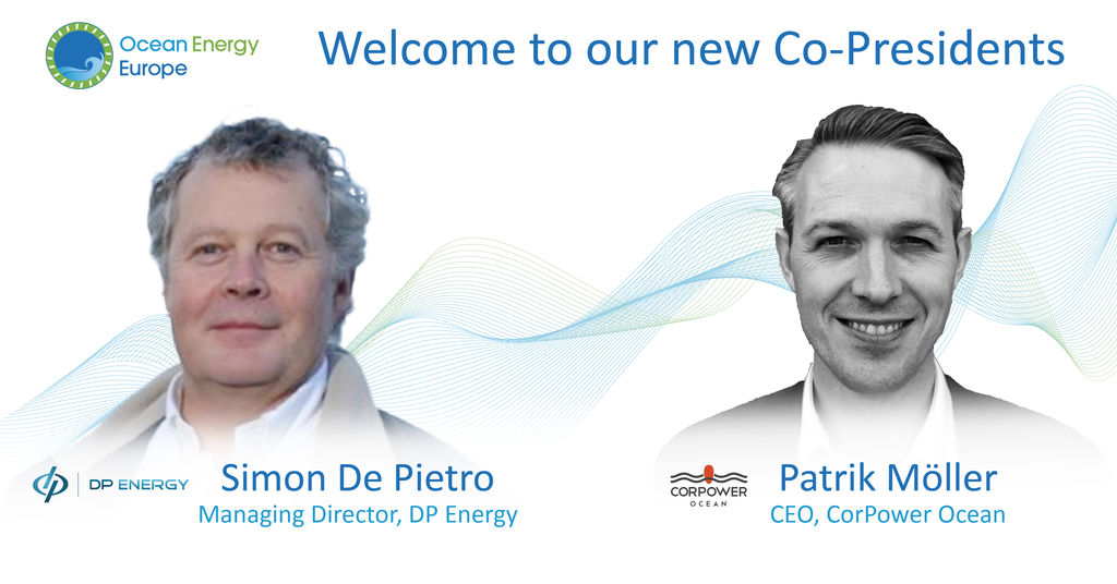 Photo showing Simon De Pietro and Patrik Möller, Ocean Energy Europe's co-presidents (Courtesy of Ocean Energy Europe)