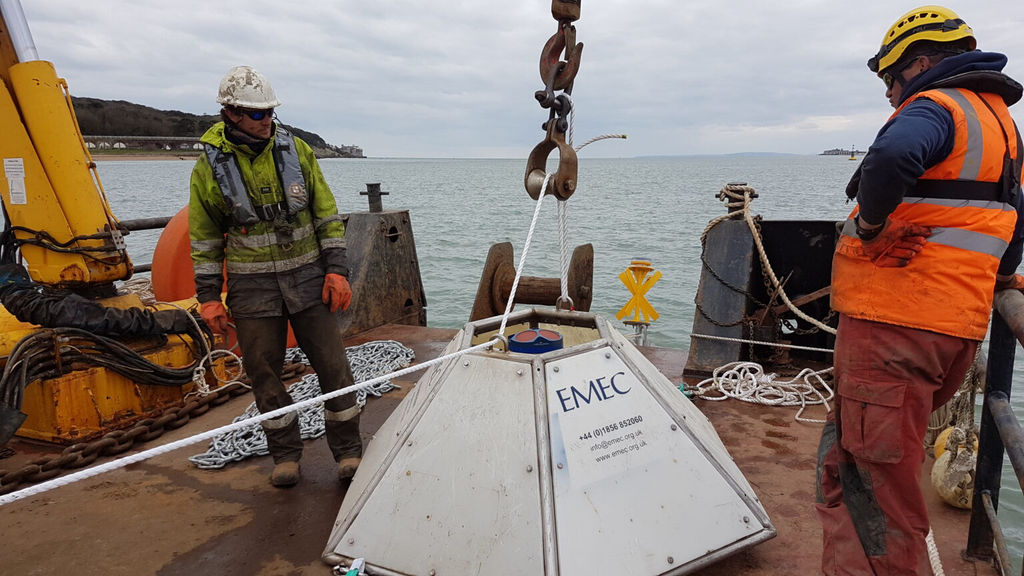 Photo showing ADCP equipment ahead of installation off Yarmouth Harbour (Courtesy of QED Naval)