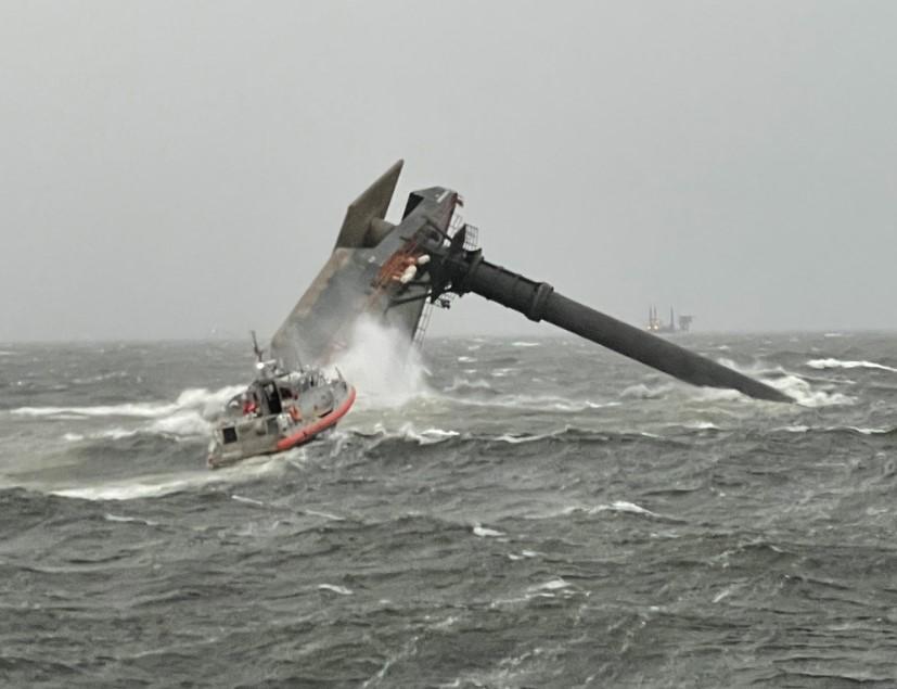 A capsized commercial liftboat