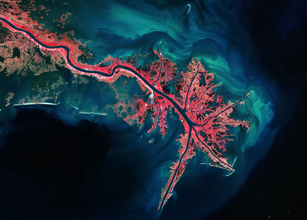 Image showing Mississipi River Delta. Osmotic power is extracted from the difference in the salt concentration when river fresh water meets sea water, which naturally occurs in river deltas. (Courtesy of Sweetch Energy/Image by European Space Agency)